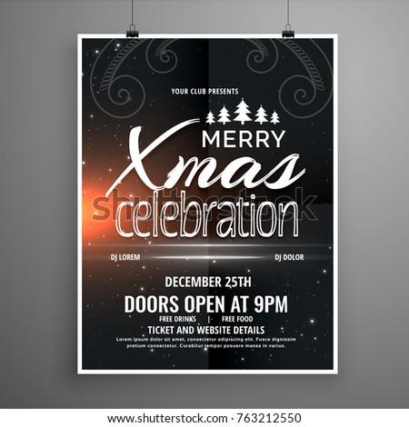 dark merry christmas party flyer design with creative tree desig Stock photo © SArts