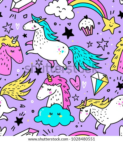 doodle seamless pattern with unicorns and other fantasy magical  Stock photo © balasoiu