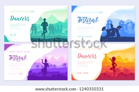 Traditional dances from all over the world brochure cards set. Cultural Dancer Styles template of fl Stock photo © Linetale