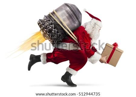 Szybko stanie christmas prezenty Święty mikołaj gotowy Zdjęcia stock © alphaspirit