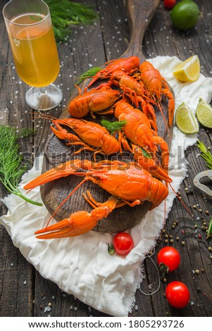 Boiled crayfish on the wooden board Stock photo © Alex9500