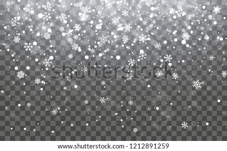 Stock photo: Christmas falling snow vector isolated on dark background. Snowflake transparent decoration effect.