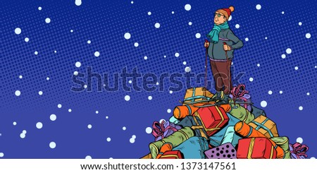 Christmas sale Shopping gifts. skier middle-aged man, On a mount Stock photo © studiostoks