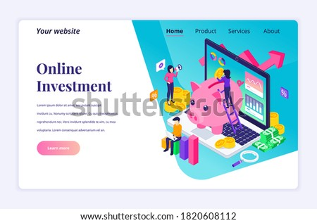 isometric flat vector landing page template of income increase strategy foto d'archivio © tarikvision