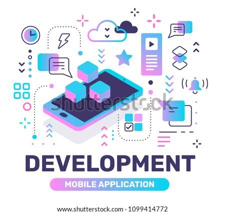 mobile app development   line design style isometric web banner stock photo © decorwithme
