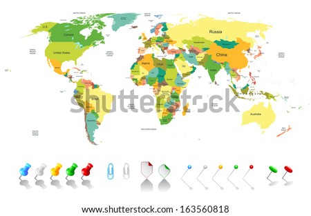 USA Karte Flagge Pin Infografiken Design Stock foto © kyryloff