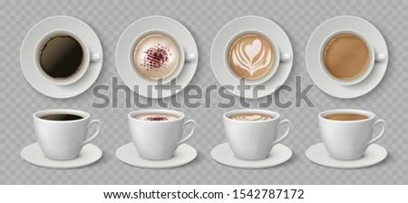 Noir cappuccino icône coeur isolé blanche Photo stock © cidepix