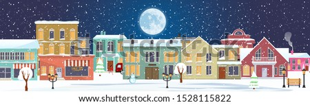 Snowy Christmas night in cozy town city panorama. Winter village holiday landscape, vector illustrat Stock photo © MarySan