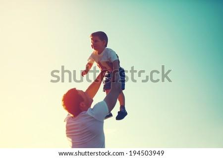 happy joyful father with baby Stock photo © Lopolo