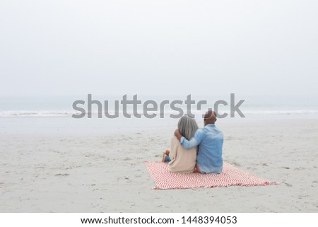 Rear view of senior couple relaxing on picnic blanket at beach Stock photo © wavebreak_media