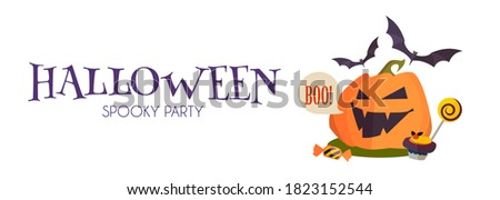 happy halloween festival sale banner with laughing scary balloon Stock photo © SArts