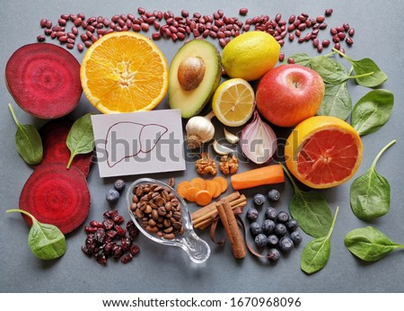 Liver detox diet food concept . Foods for healthy liver on white  Stock photo © Illia