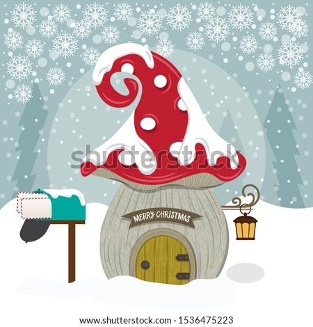 Cute гном дома Рождества плакат Сток-фото © balasoiu