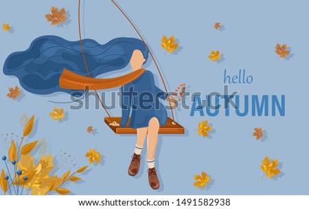 Dziewczyna huśtawka jesienią karty wektora stylu Zdjęcia stock © frimufilms