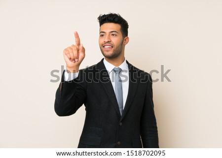 Biznesmen pracy niewidoczny faktyczny ekranu działalności Zdjęcia stock © dolgachov