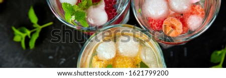 Banner of Detox infused flavored water with three color raspberry Stock photo © Illia