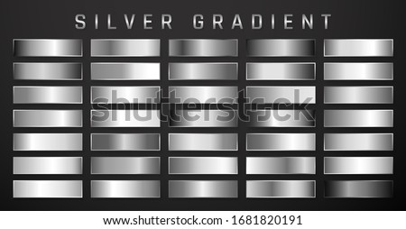 Collection of silver, chrome metallic gradient. Brilliant plates with silver effect. Vector illustra Stock photo © olehsvetiukha