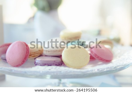 French macaroons on pastel pink background, parisian chic cafe d Stock photo © Anneleven