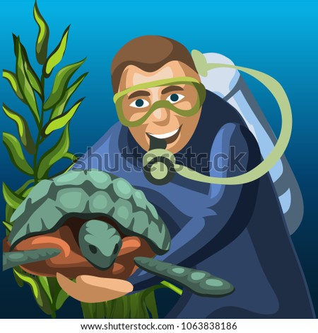 Sketch of a poster of a male diver and a large sea turtle. Vector cartoon close-up illustration. Stock photo © Lady-Luck