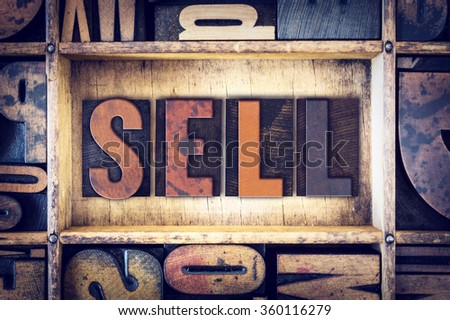 Uitverkocht vintage houten type woord Stockfoto © enterlinedesign