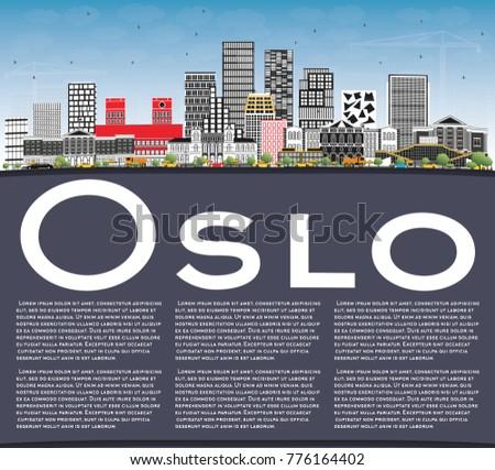 オスロ スカイライン グレー 建物 青空 コピースペース ストックフォト © ShustrikS