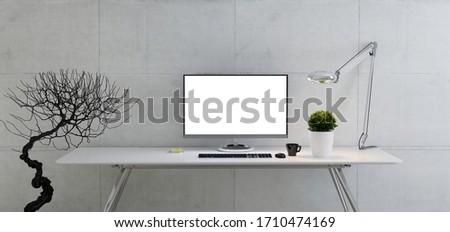 Workspace таблице конкретные стены служба реалистичный Сток-фото © sedatseven