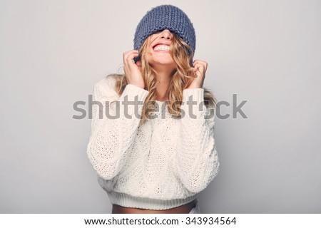 Portre güzel kadın yün mavi kazak kış Stok fotoğraf © olira