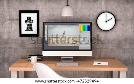 Photo Designer Editing On Computer Stock photo © AndreyPopov