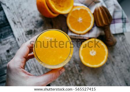 女性 新鮮な オレンジジュース 健康食品 ホーム 幸せ ストックフォト © choreograph