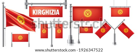 Vector set of the national flag of Kirghizia in various creative designs Stock photo © butenkow
