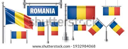 Vetor conjunto bandeira Romênia criador Foto stock © butenkow