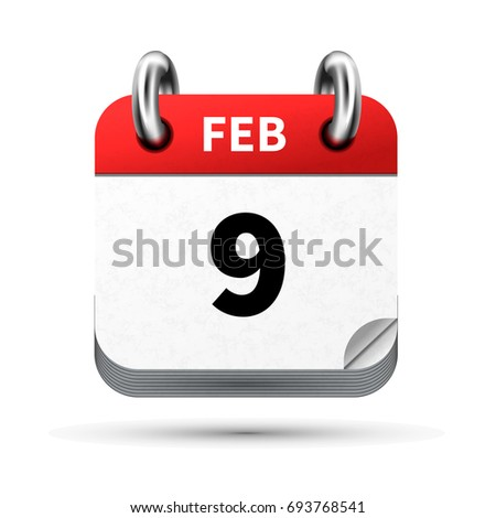 Bright realistic icon of calendar with 9 february date isolated on white Stock photo © evgeny89