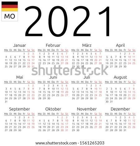 2021 year simple calendar on german language, isolated on white Stock photo © evgeny89