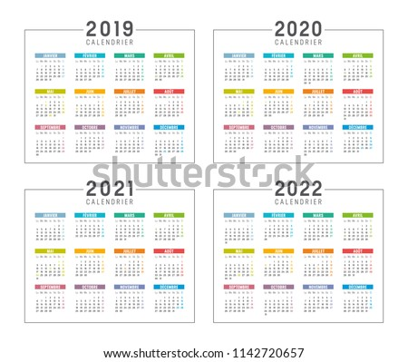2022 year simple calendar on french language, isolated on white Stock photo © evgeny89