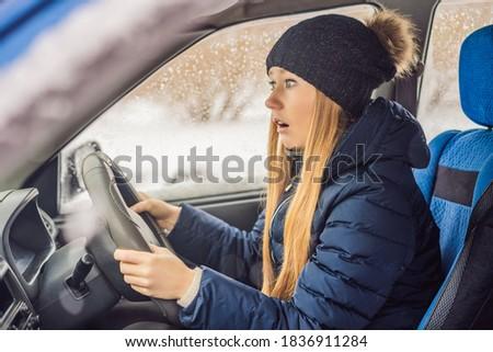 Femme voiture chutes de neige problèmes route homme Photo stock © galitskaya
