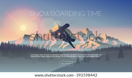 Young man jumping with a snowboard in the mountains BANNER, LONG FORMAT Stock photo © galitskaya