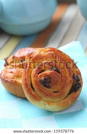 Zoete swirl rozijnen ontbijt voedsel banner Stockfoto © Melnyk
