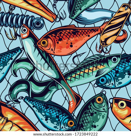 Set of different spinning fishing accessories and tackles, vector illustration. Stock photo © kup1984