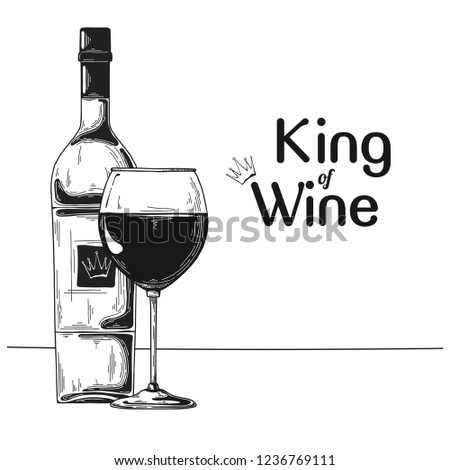 Bottle with wine and wine glass. Text King of wine. Vector illustration. Stock photo © Arkadivna