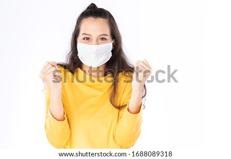 Coronavirus Asian woman wearing flu virus mask prevention with text on banner Stock photo © Maridav