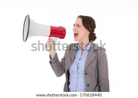 Jonge vrouw megafoon technologie aankondiging software Stockfoto © ra2studio