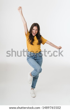 Fotografia piękna zadowolony kobieta stwarzające patrząc Zdjęcia stock © deandrobot