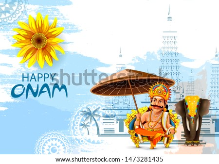 King Mahabali in Onam traditional festival background showing culture of Kerala, South India Stock photo © vectomart