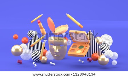 Cosmetics (make-up products) and red woman shoes isolated on whi Stock photo © tetkoren