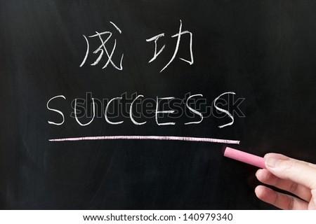 勝利 言葉 書かれた 黒板 中国語 翻訳 ストックフォト © bbbar