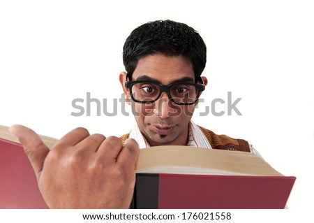 Man in glasses reading a red hardback book Stock photo © photography33