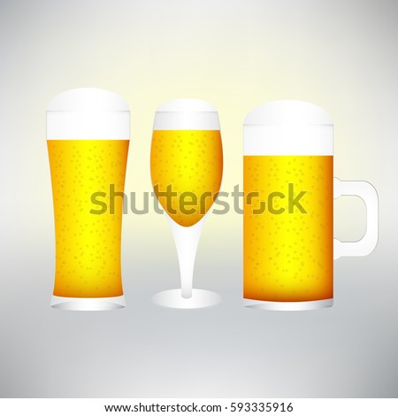 different glasses of cold lager beer isolated  excellent quality stock photo © ozaiachin