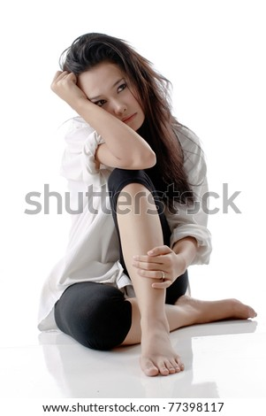 Pretty young beautiful woman with stress looks against isolated  Stock photo © dacasdo