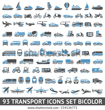 93 Transport icons set blue and gray Stock photo © Ecelop