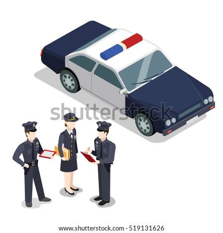 dość · policji · kobieta · piękna · brunetka - zdjęcia stock © leonido